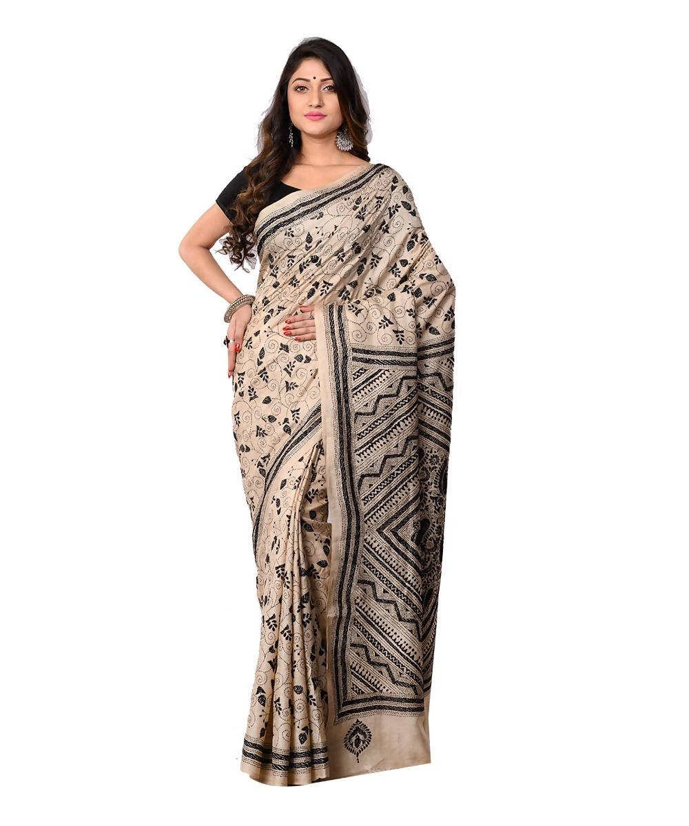 Off White Bengal Handloom Kantha Stitch Saree