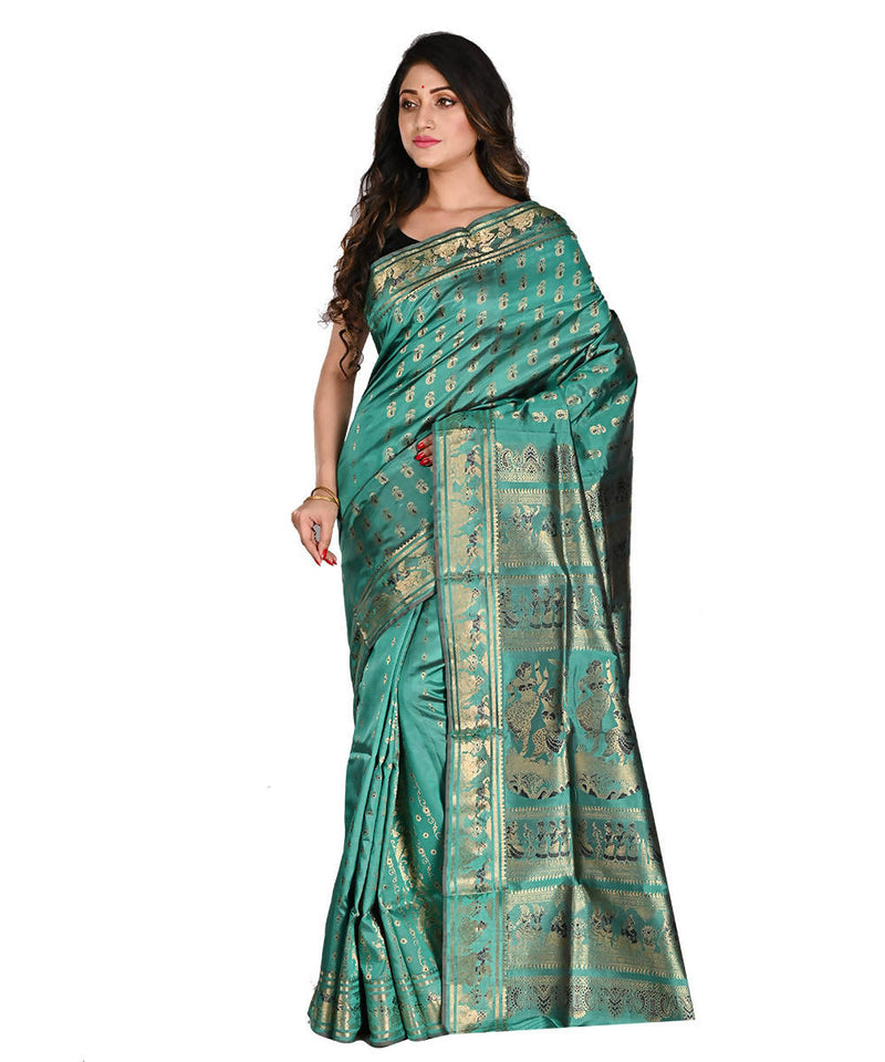 Teal Baluchari Bengal Handloom Silk Saree