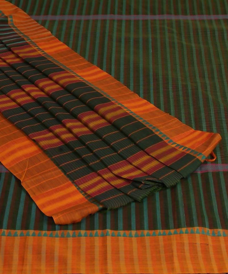Handloom Green Stripe Narayanpet Cotton Saree