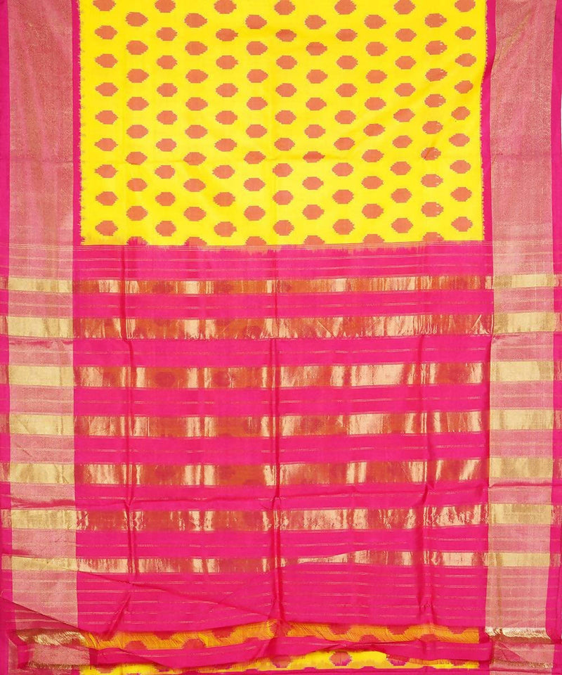Polka dot yellow pochampally silk saree