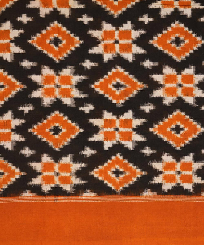 Orange Handwoven Teliya rumal ikat cotton Dupatta
