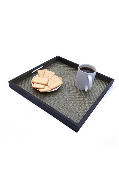 Black Handmade Bamboo Square Tray (Large)