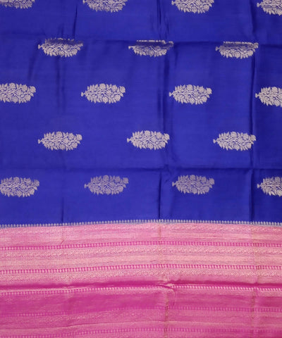 Banarasi Berry Blue Pink Handloom Silk Saree