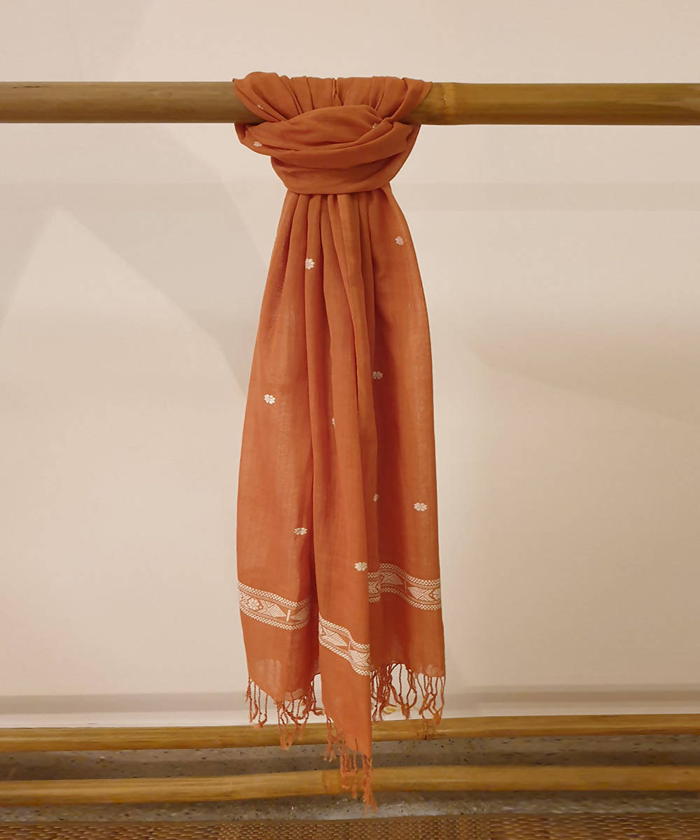 dark Brown assam handloom cotton stole