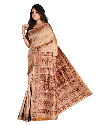 Bengal Handloom Cream Baluchari Silk Saree