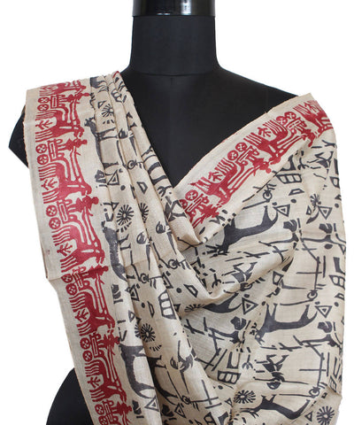 Handloom Beige Black Red Tussar Silk Dupatta