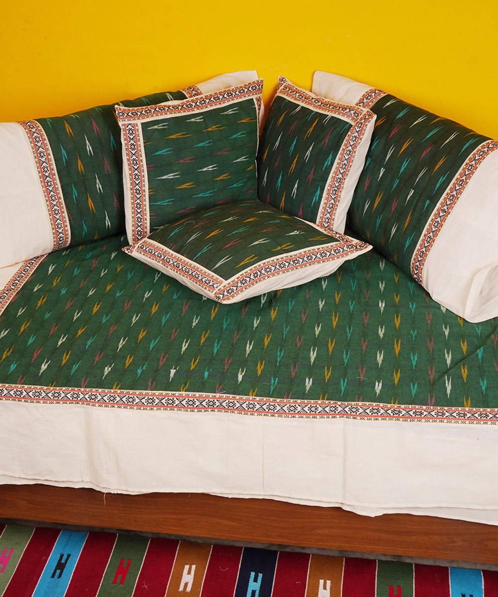Green handloom pochampally ikkat diwan set