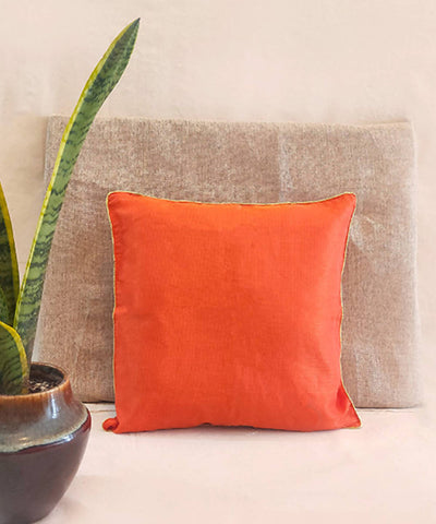 Handmade solid orange kota festive cushion cover