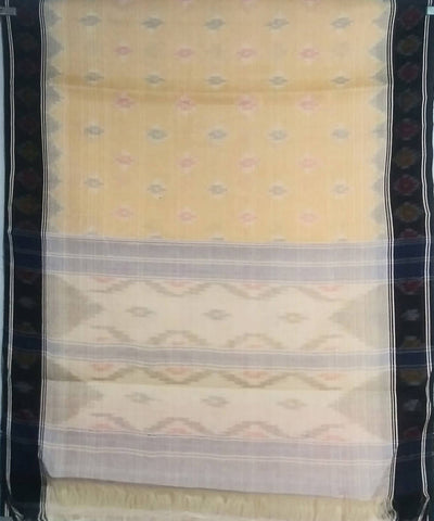 Light yellow siddipet tie and dye handwoven cotton saree
