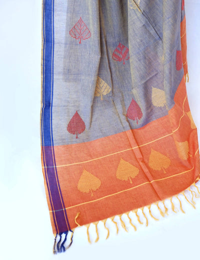 Bavanbuti Handloom Grey Cotton Saree