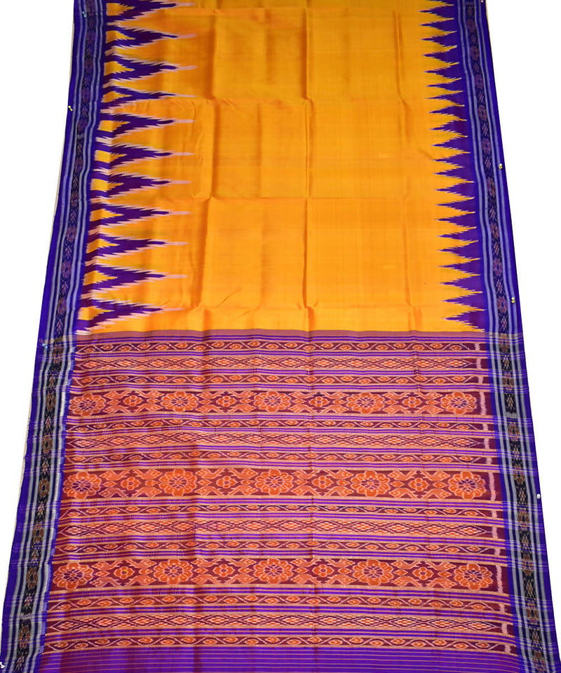 Golden silk handloom khandua saree