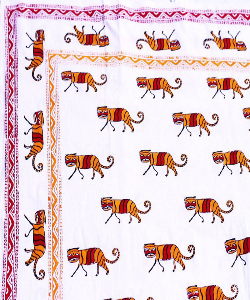 Tiger print cotton hand block print bedsheet