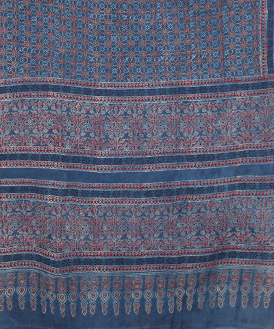 Blue red Ajrakh Handblock Print on Handloom Cotton Saree