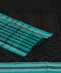 Black Cyan Handloom Sambalpuri Cotton Saree