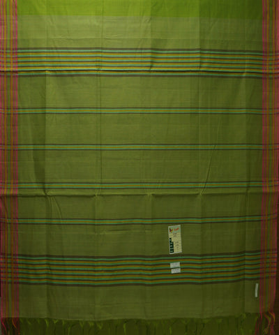 Handloom Pear Green Organic Cotton Saree