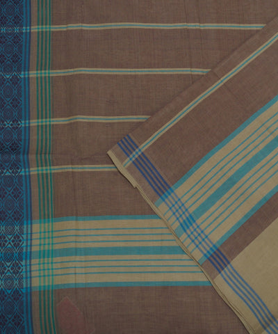 Cream Brown Handloom Organic Cotton Saree