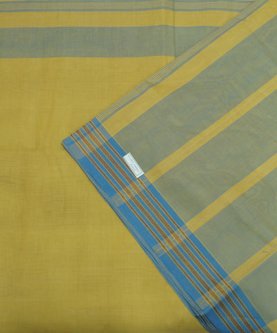 Blue Yellow Handloom Organic Cotton Saree