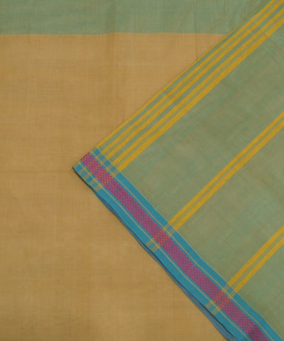 Cream Handloom Organic Cotton Saree