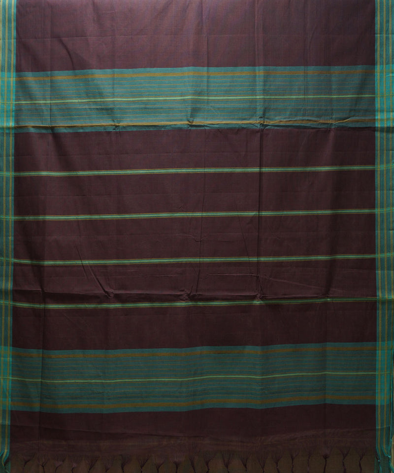 Loomworld Wine Handwoven Organic Cotton Saree