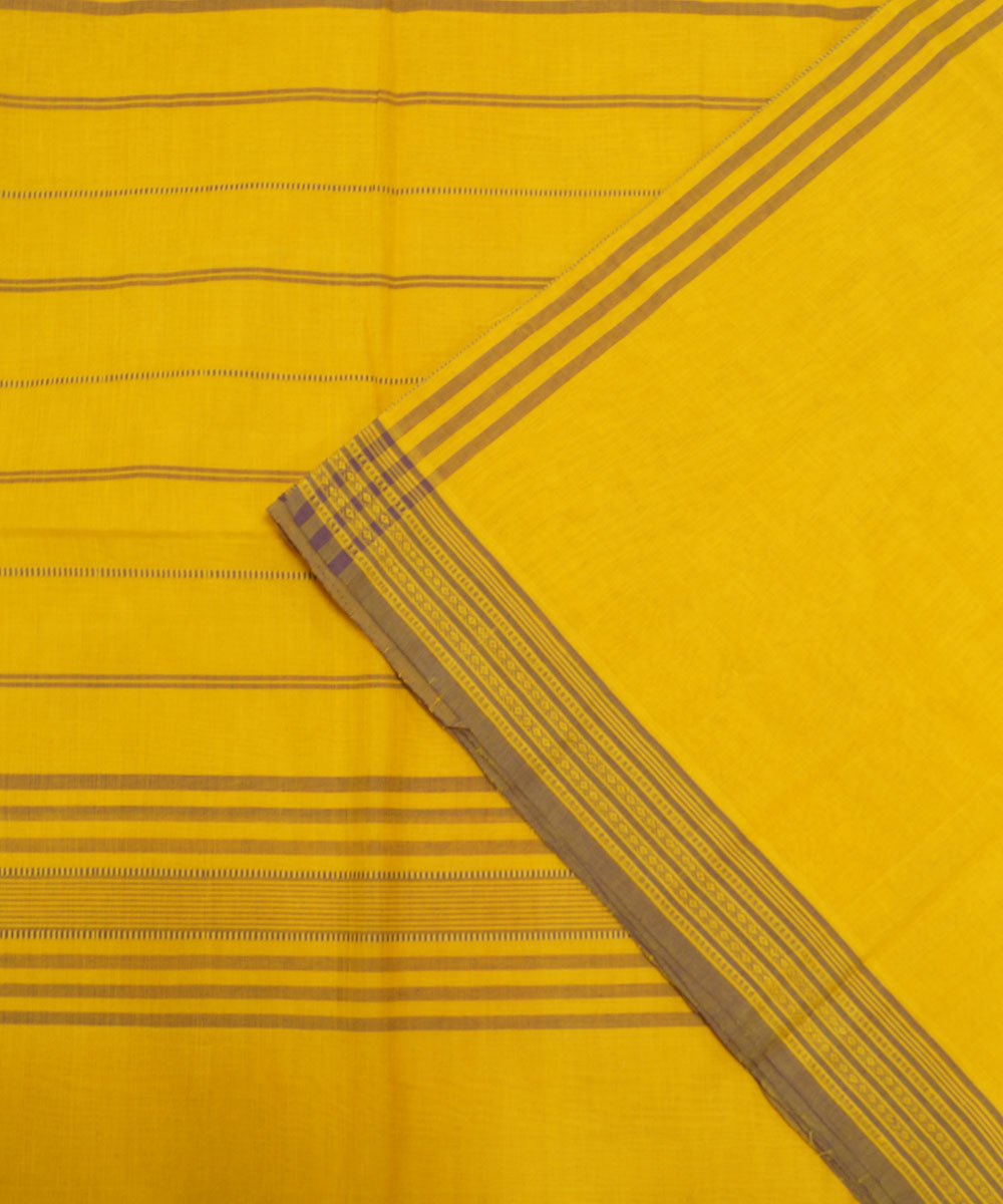 Loomworld Yellow Handwoven Organic Cotton Saree