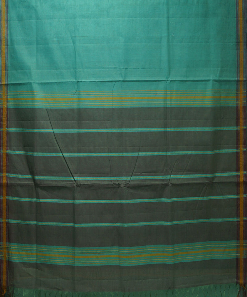 Organic Cotton Cyan Handloom Saree