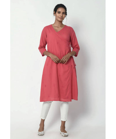 Chikankari Hand Embroidered Dusty Pink Cotton Angrakha Kurta