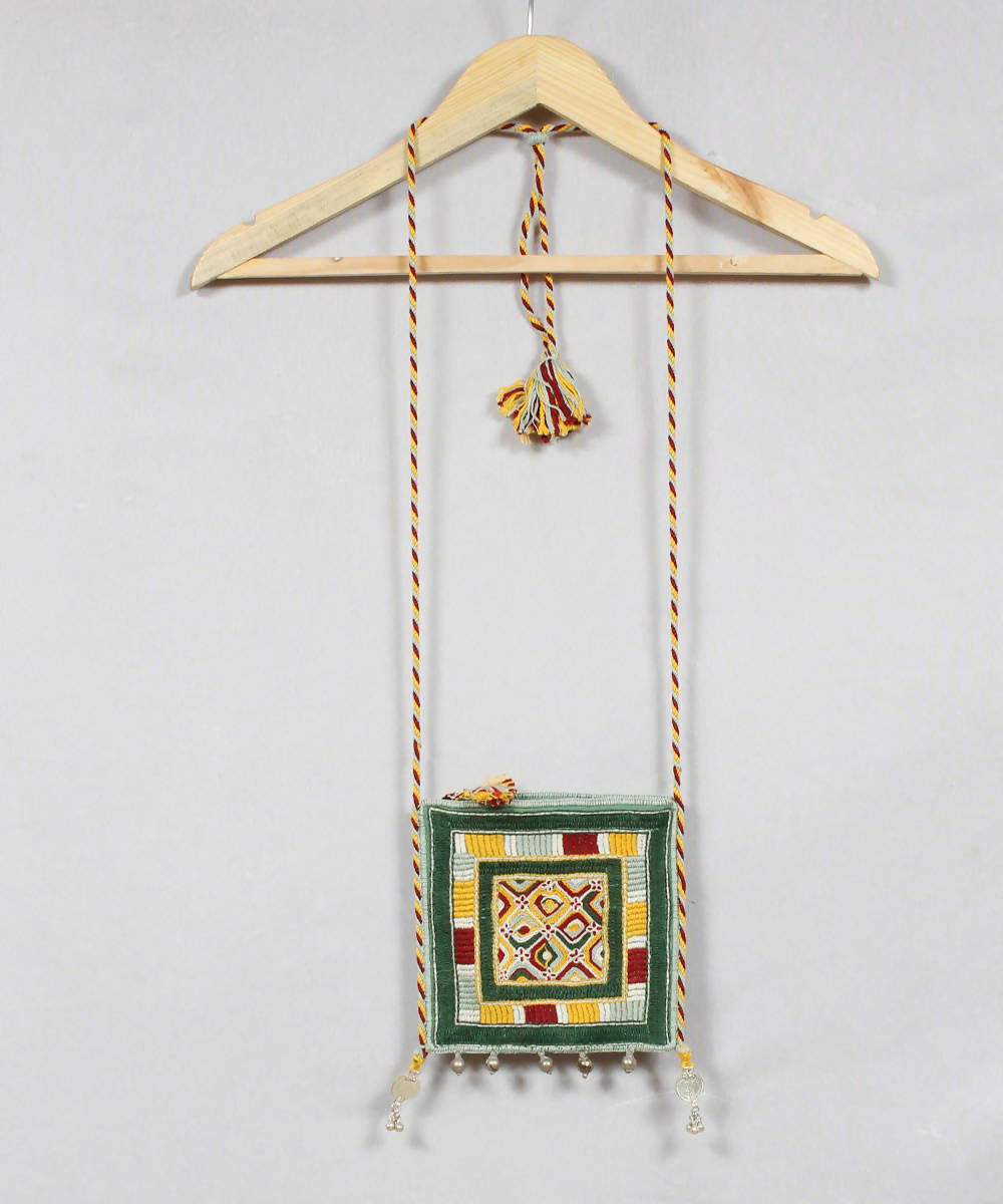 Green White Lambani Embroidery Sling Bag