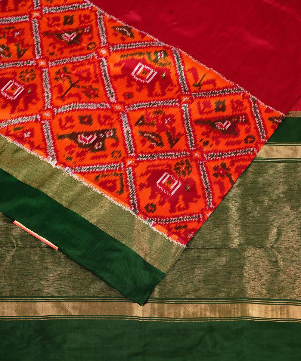 Maroon Red Handloom Pochampally Silk Saree