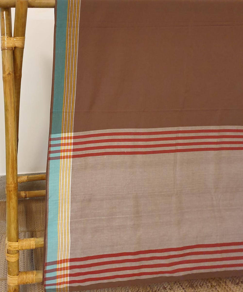 Coffee brown assam handloom cotton saree