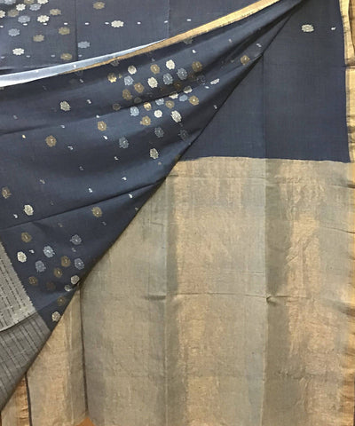Dark Grey Natural Dye Handloom Jamdani Cotton Saree