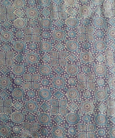 brown ajrakh handblock print handspun handwoven cotton kurta fabric