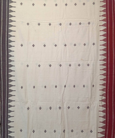 Off White Handwoven Kotpad Natural Dye Cotton Saree