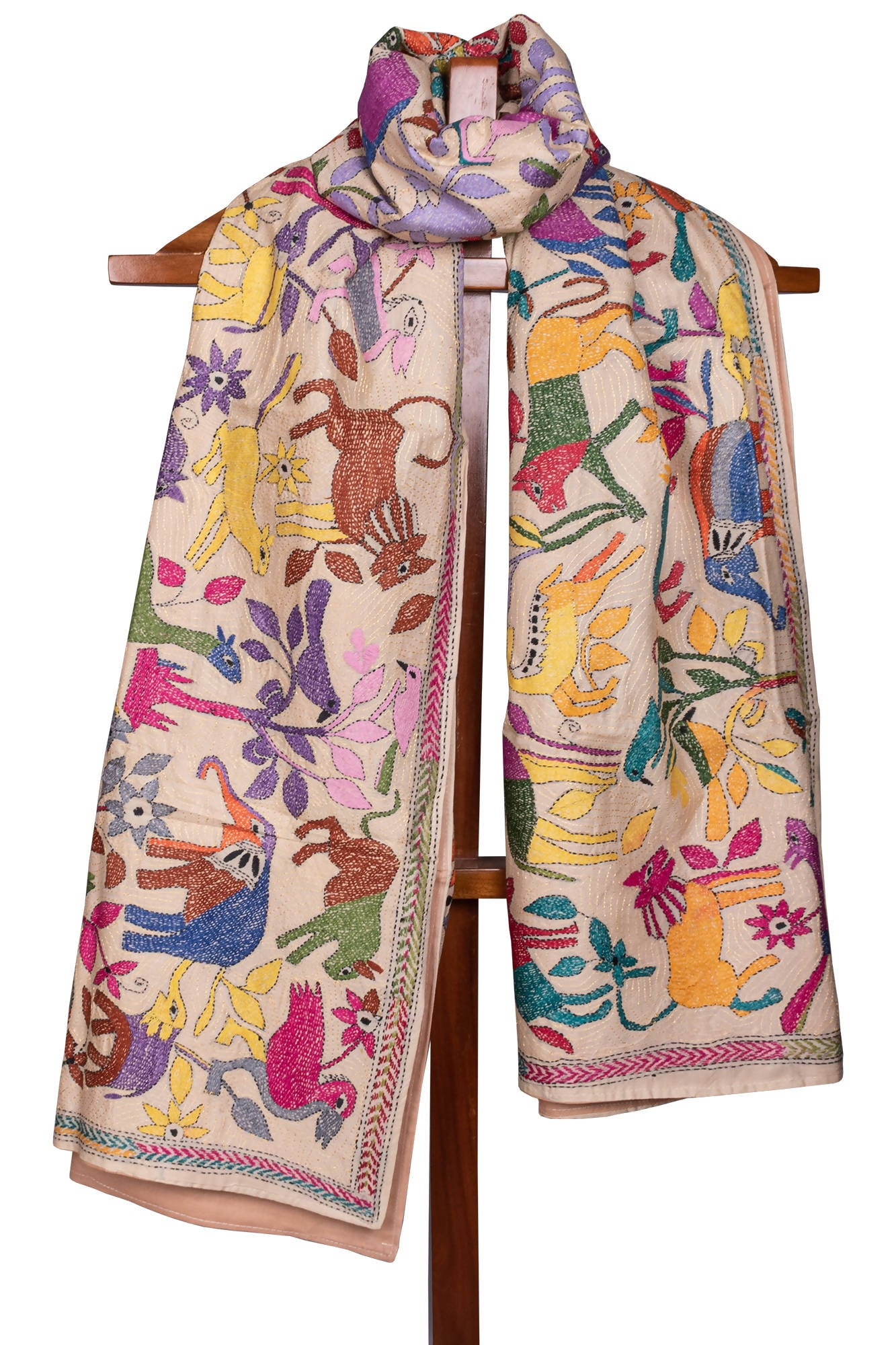 Biswa bangla multicolor animal design tussar Kantha Shawl with Interlining