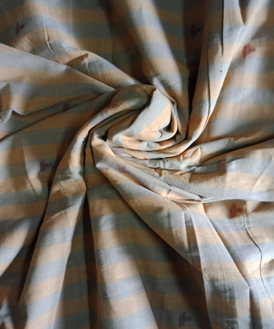 Blue yellow stripe handloom muslin jamdani fabric (11m per quantity)