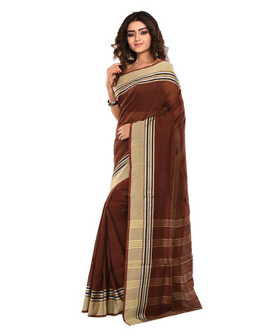 Dark Brown Bengal Handloom Cotton Saree