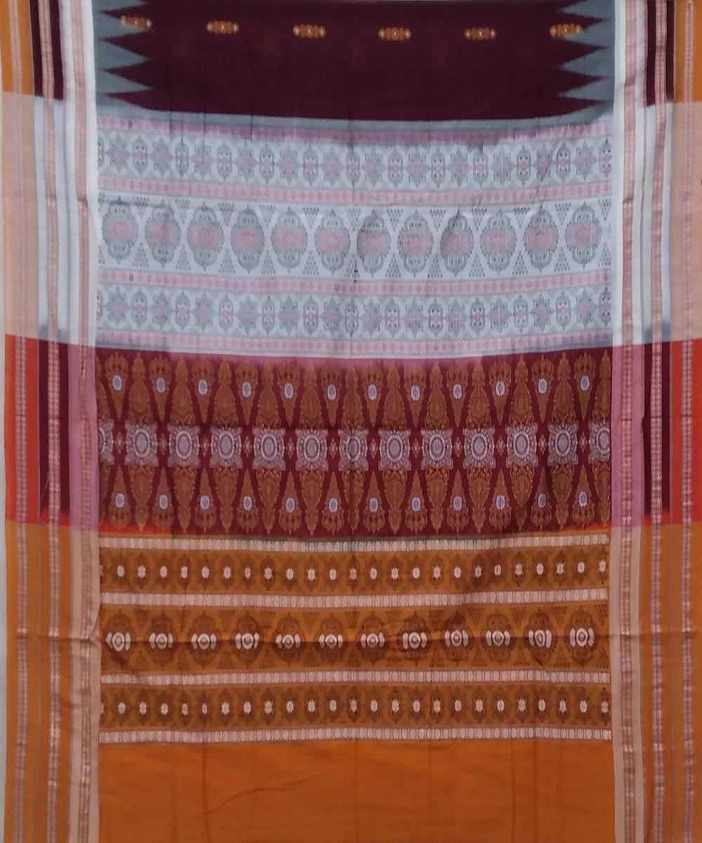 Burgundy carrot orange handwoven bomkai cotton saree