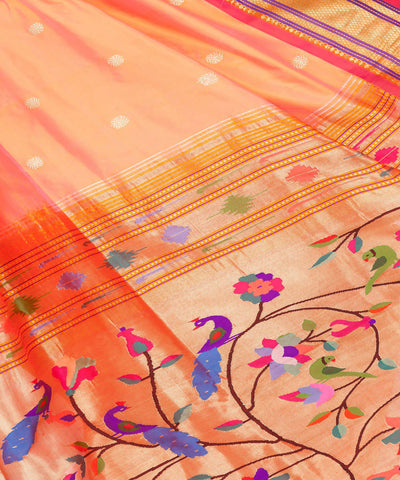 Light Orange Handloom Paithani Silk Saree