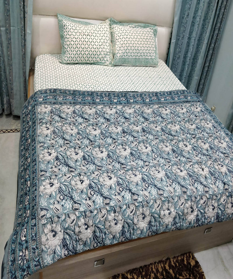 White Grey Handblock Printed Cotton Quilt