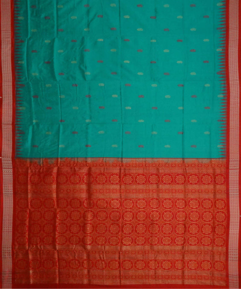 Caribbean green bomkai handwoven silk saree