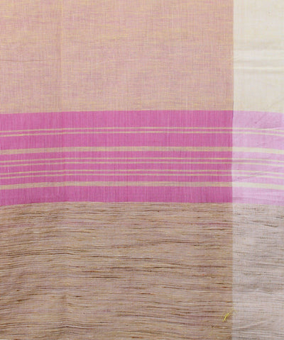Cream Pink Bengal Handloom Cotton Saree