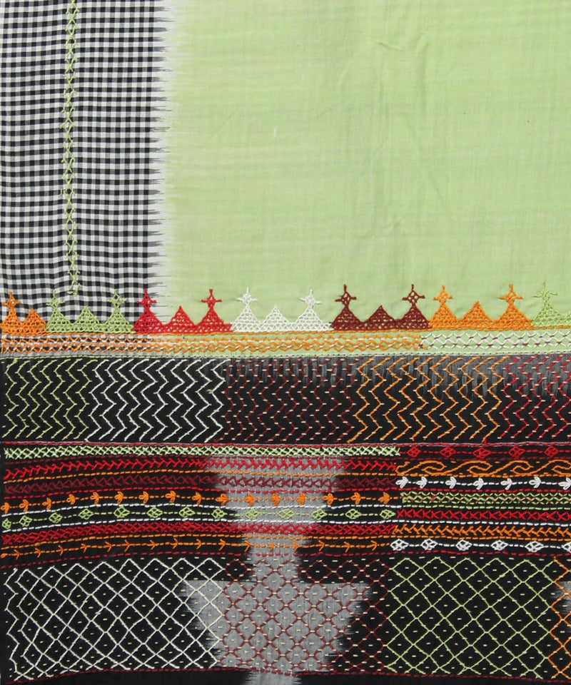green checks border hand embroidery cotton ikkat saree