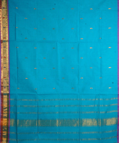 Sky Blue Handwoven Venkatagiri Cotton Saree