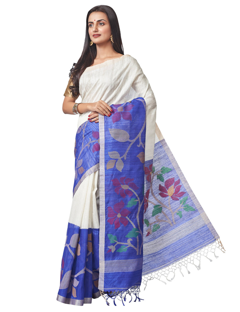Biswa Bangla Handloom Matka Silk Jamdani Saree - White & Blue