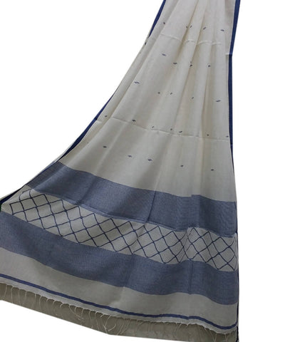 White and blue handwoven Mulmul cotton Jamdani Dupatta