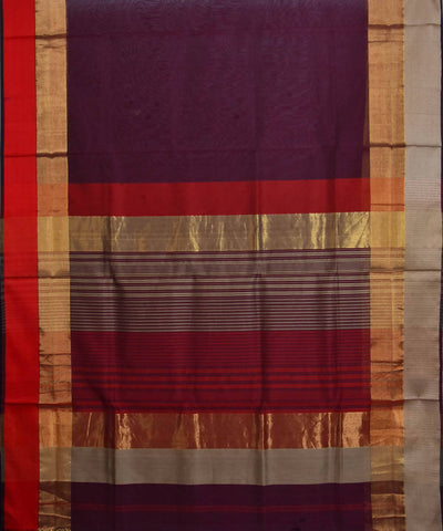 Maheshwari Wine Purple Handloom Sico Saree