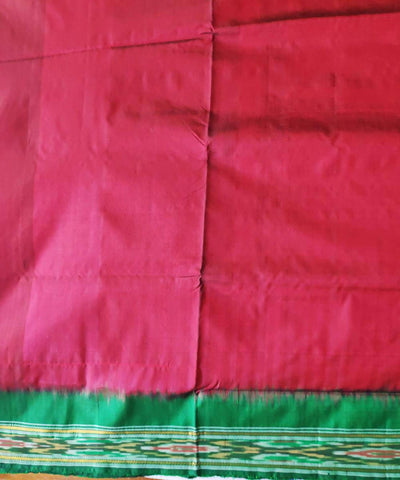 Red and green handloom traditional pochampally ikat silk saree