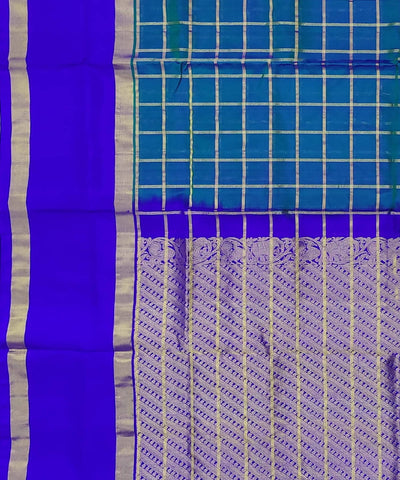 Teal and Blue Checks Handwoven Silk Venkatagiri Saree