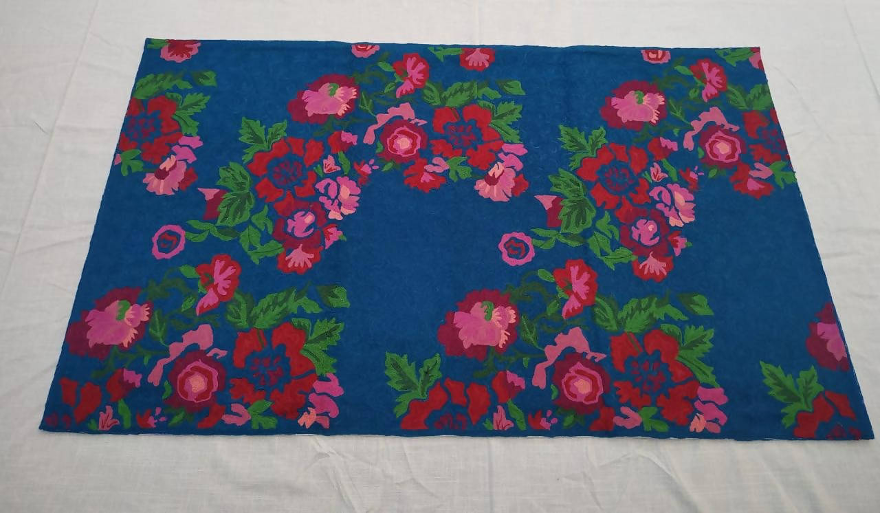 Blue hand embroidery cotton woolen floor rug