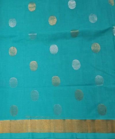 Teal Blue with gold shimmer border Handwoven Venkatagiri cotton Saree