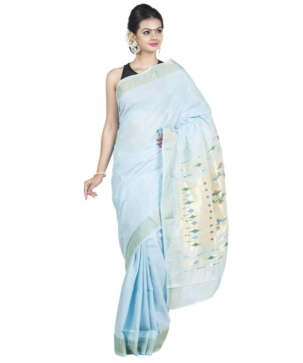 Baby Blue Handloom Paithani Cotton Saree
